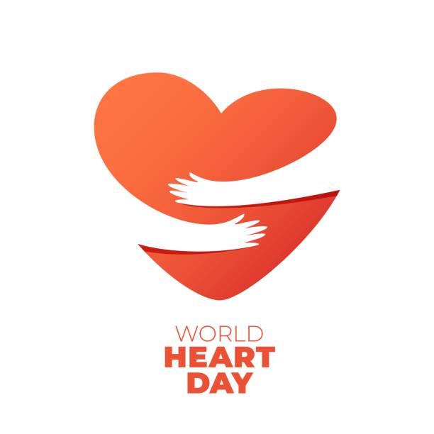 World Heart Day, hands hugging heart symbol World Heart Day, hands hugging heart symbol. Vector illustration of hands hugging heart, Heart Care concept hug stock illustrations
