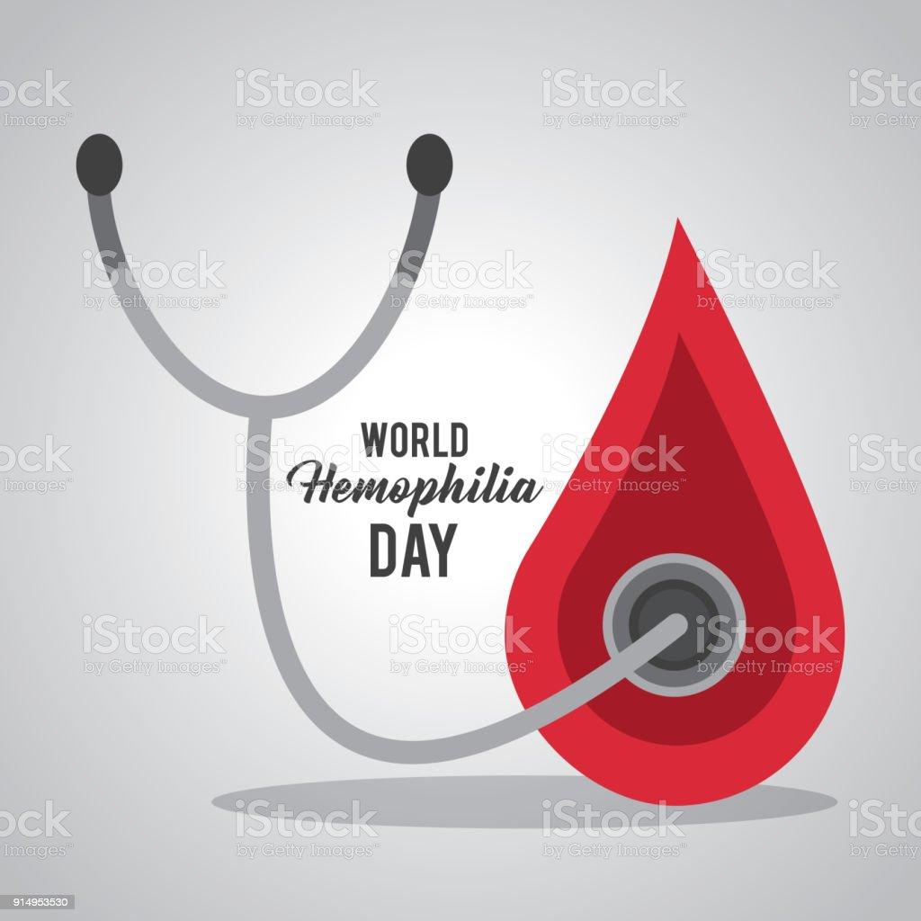 Welt Hämophilie Tag Blut Tropfen Stethoskop Stock Vektor Art und ...