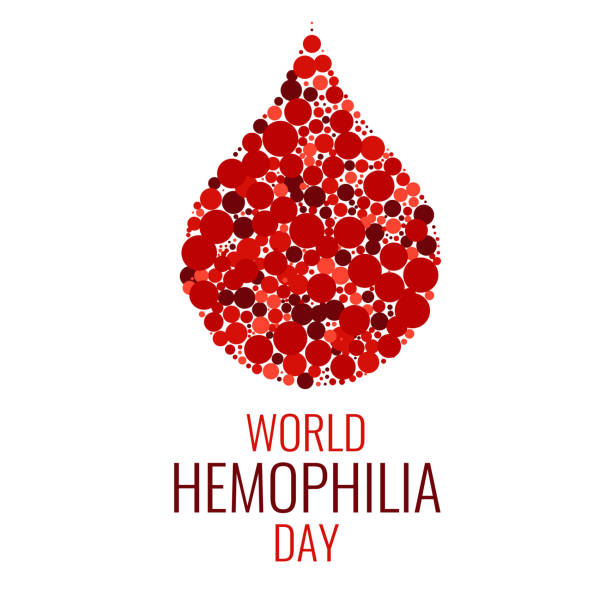 World Hemophilia Day World Hemophilia Day. Drop of blood made of dots on white background. Blood drop symbol. Hemophilia sign. Hemophilia awareness symbol. Stop hemophilia. Isolated vector illustration. red blood cell stock illustrations