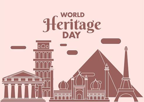 World Heritage Day poster, Eiffel Tower, Parthenon, Great Pyramid, Tower of Pisa, Jama masjid illustration vector