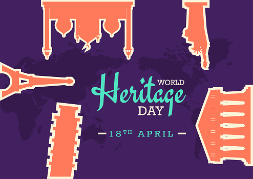 World Heritage Day poster with famous monuments illustration stickers, vector banner