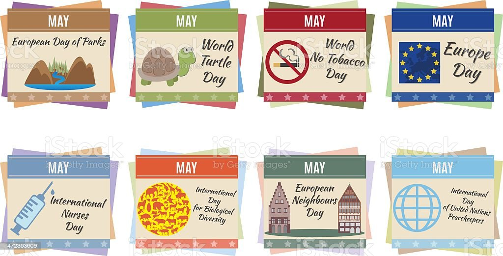 World holidays. May royalty-free stock vector art
