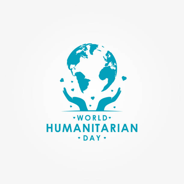 World Humanitarian Day Vector Design With Globe Template vector art illustration