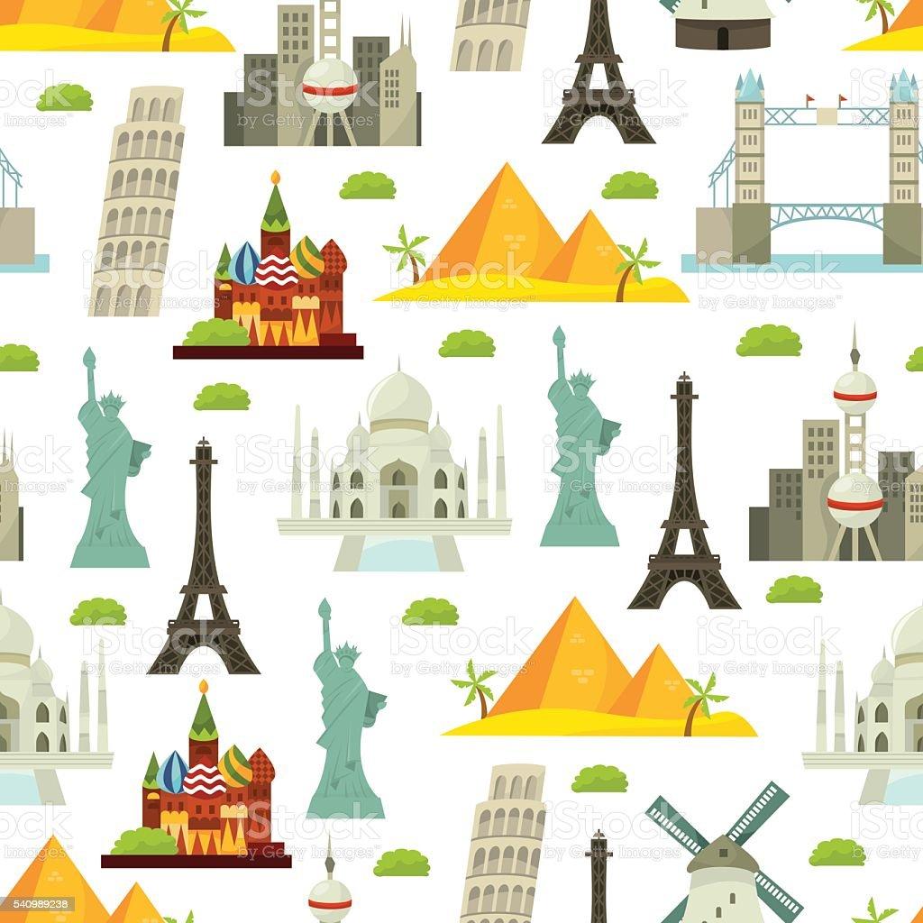 Welt Wahrzeichen nahtlose Musterung Hintergrund – Vektorgrafik