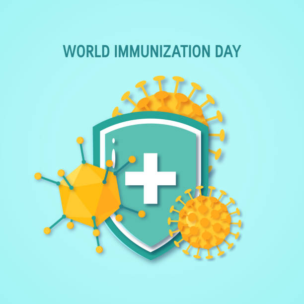 World immunization day concept, vector flat style World immunization day poster. Medical shield surrounded by viruses and bacterium. Vector illustration on turquoise background in paper cut style immunology stock illustrations