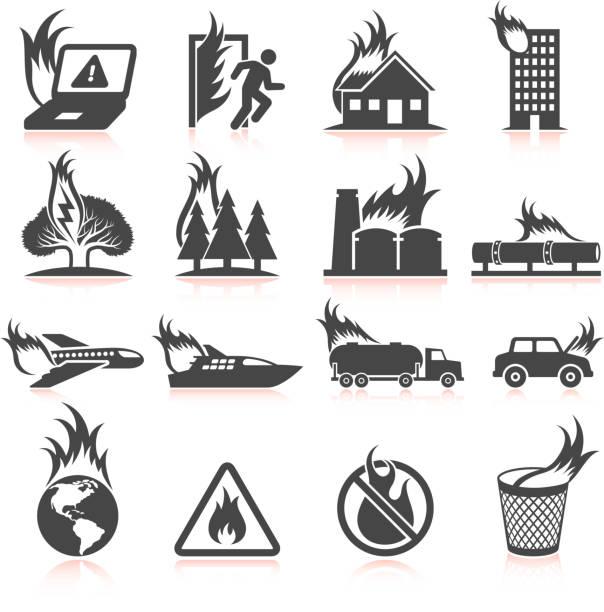 bildbanksillustrationer, clip art samt tecknat material och ikoner med world in flames and fire disaster black & white icons - skog brand