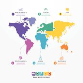 World Infographic Template jigsaw concept banner.
