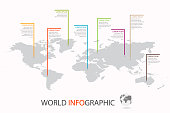 World infographic template. World map with marker on each continent