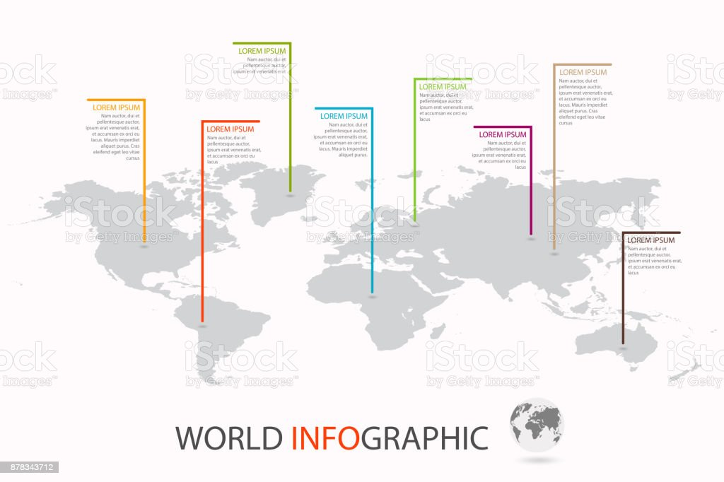 World infographic template. World map with marker on each continent vector art illustration