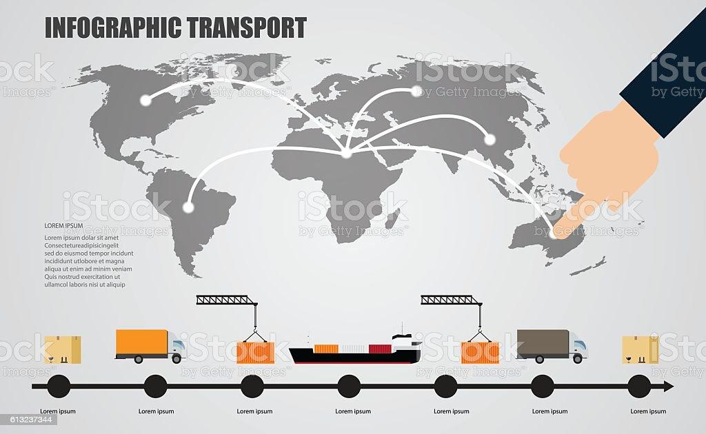 world infographics transport vector art illustration
