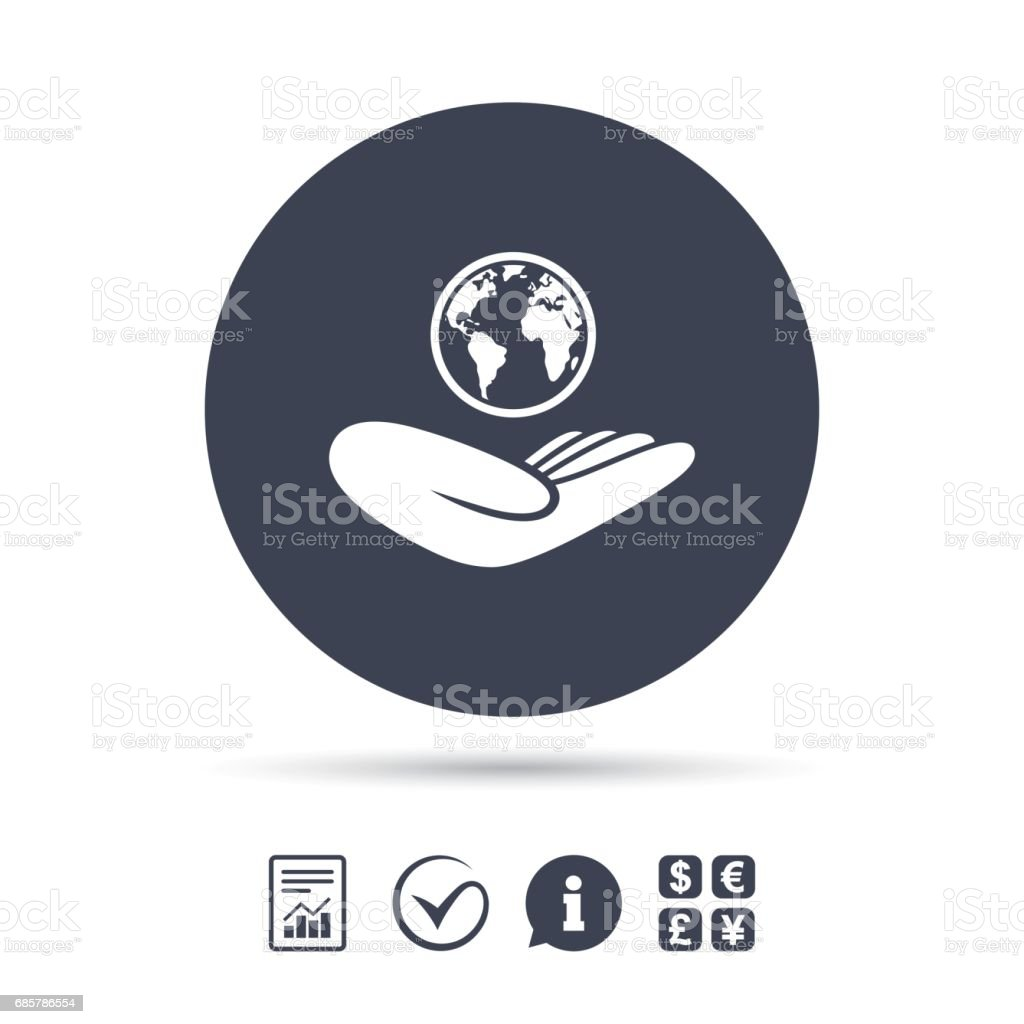 World insurance sign. Hand holds earth. royalty-free world insurance sign hand holds earth stock vector art & more images of art