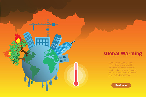 World is melting from higher temperature. Global warming, climate change, save the forest, ecology and earthday concept.