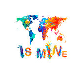 World is mine. Splash paint inscription. Map silhouette