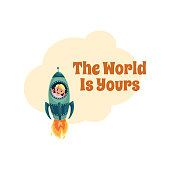 World is Yours postcard, banner, poster, little boy in rocket