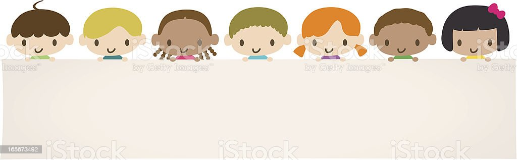 World Kids: Multicultural children holding a blank message sign royalty-free stock vector art