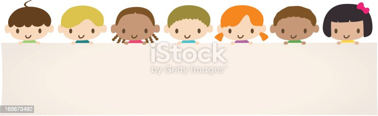 Vector illustration – Cute Multicultural children holding a blank sign for your message.