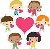 Vector illustration – Multicultural kids showing love.