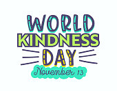 World Kindness Day Banner or Typography Isolated on White Background. 13 November Greeting Card with Creative Inscription, Poster, Apparel Print Design, Motivation Phrase, Emblem. Vector Illustration