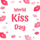 World kiss day vector with kiss icon on white background