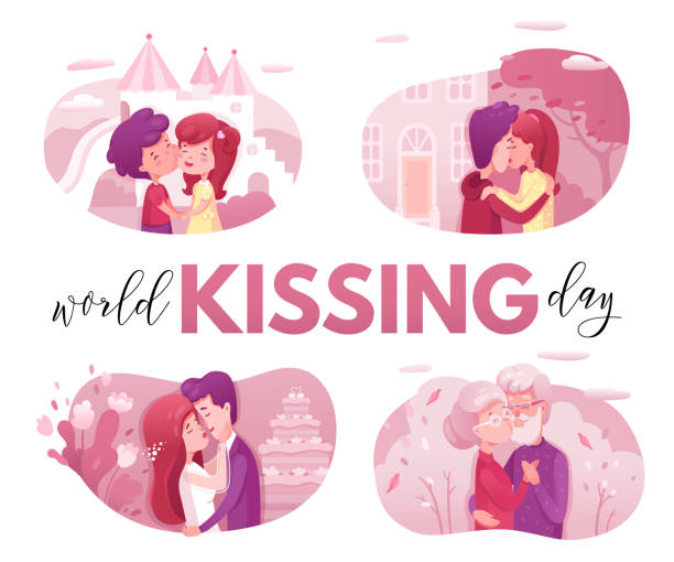 world kissing day web banner flat vector template - old man kissing stock illustrations, clip art, cartoons, & icons