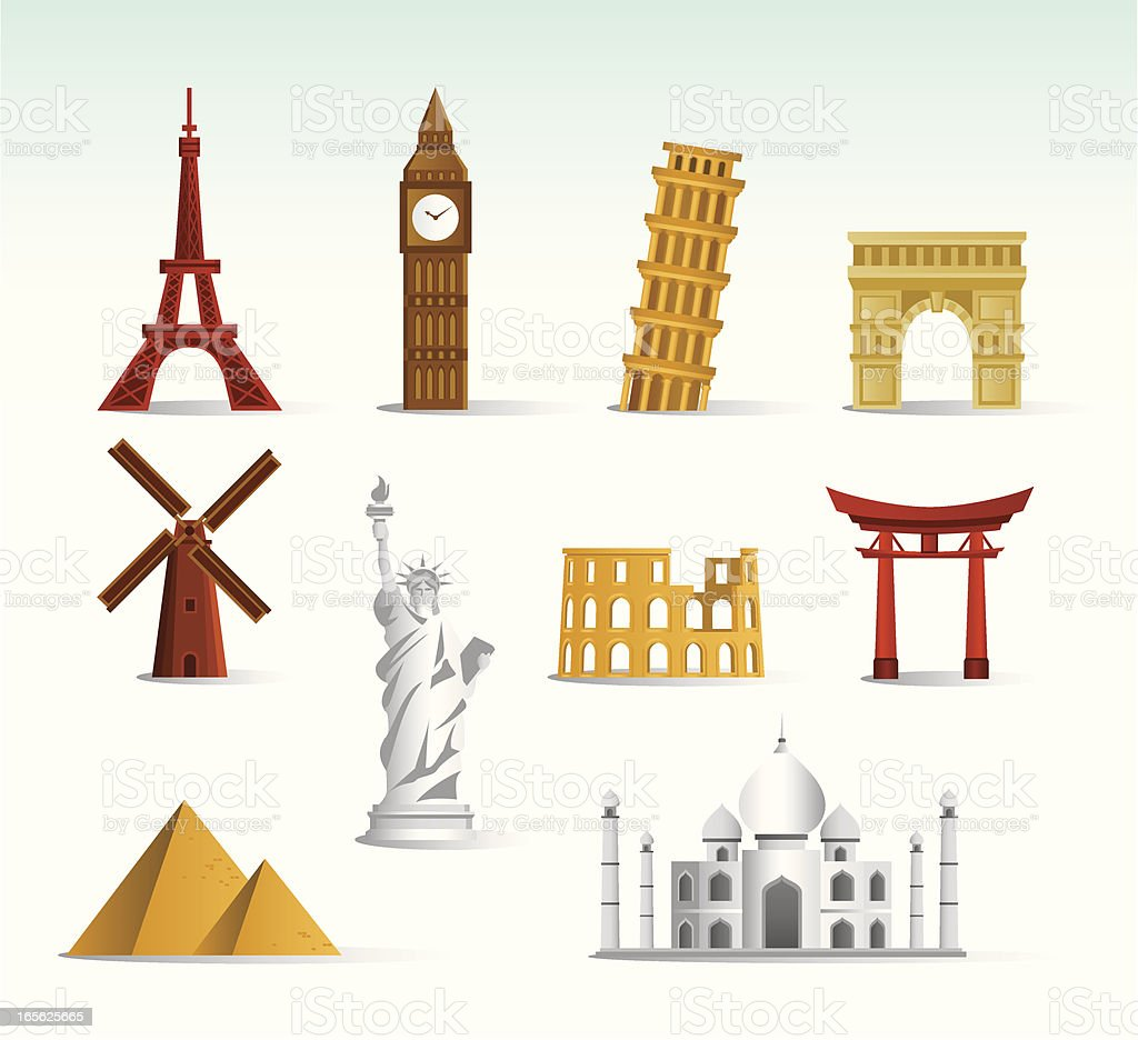 World Landmark Icon Set royalty-free world landmark icon set stock vector art & more images of abstract