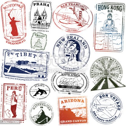 Series of stylized landmark passport style stamps from exotic locations.