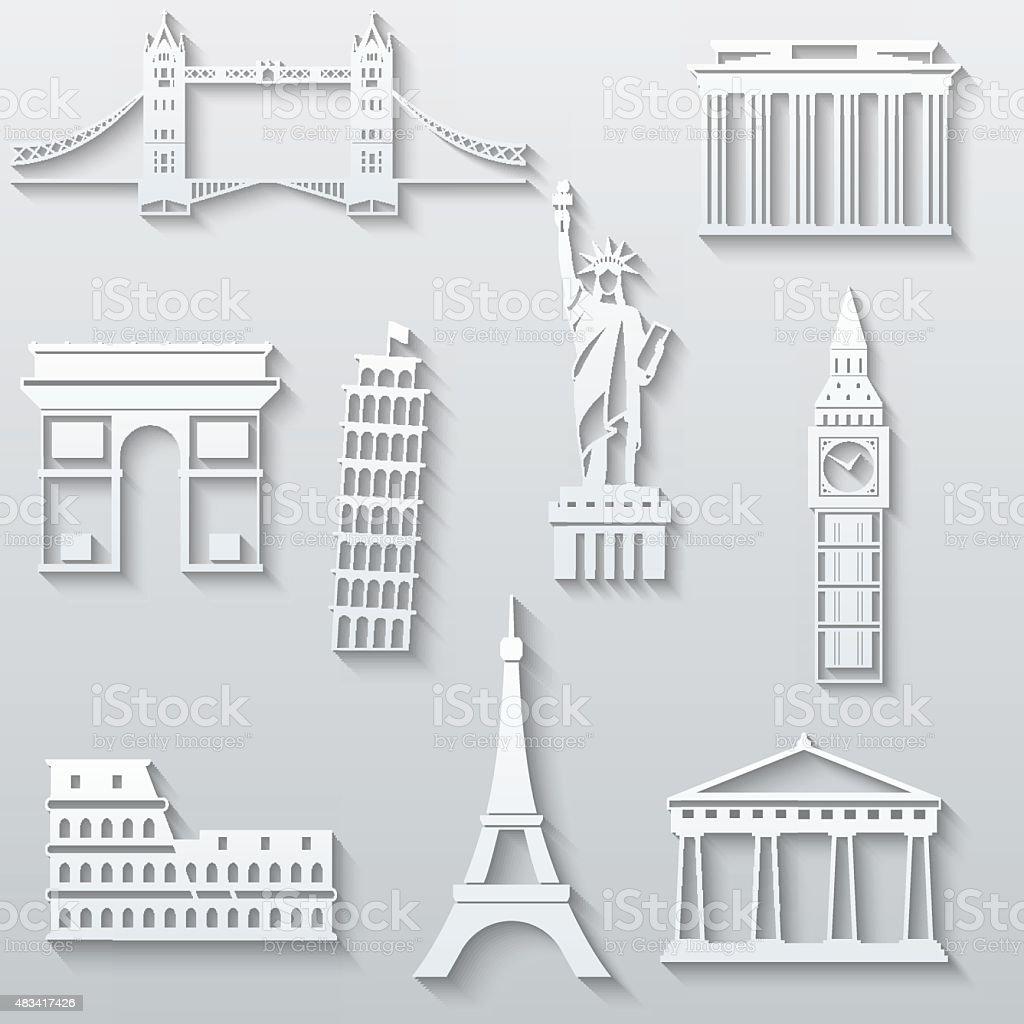 World landmarks, abstract flat paper icons set vector art illustration