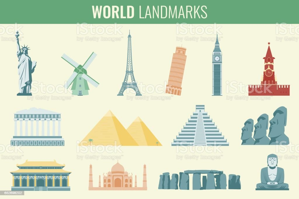 World landmarks flat icon set. Travel and Tourism. Vector vector art illustration