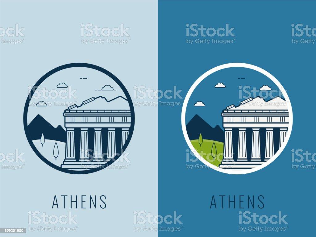 World landmarks. Greece. Travel and tourism background. Line icons. Vector vector art illustration
