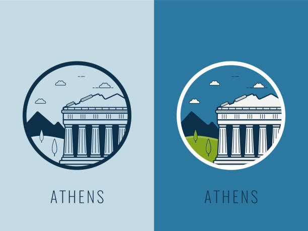 World landmarks. Greece. Travel and tourism background. Line icons. Vector vector art illustration