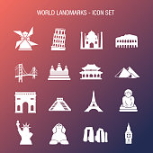 Vector of World Landmarks Icon Set Coral and Blue Gradient Background