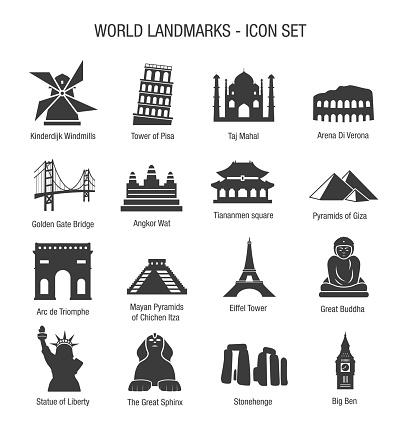 World Landmarks Icon Set
