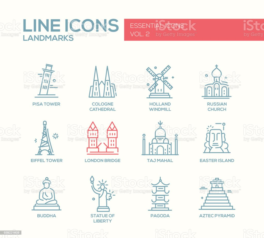 World landmarks icons set vector art illustration