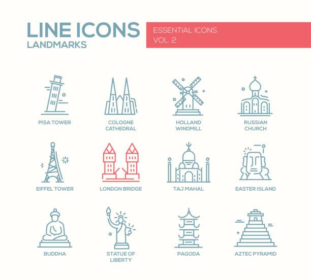 World landmarks icons set vector art illustration