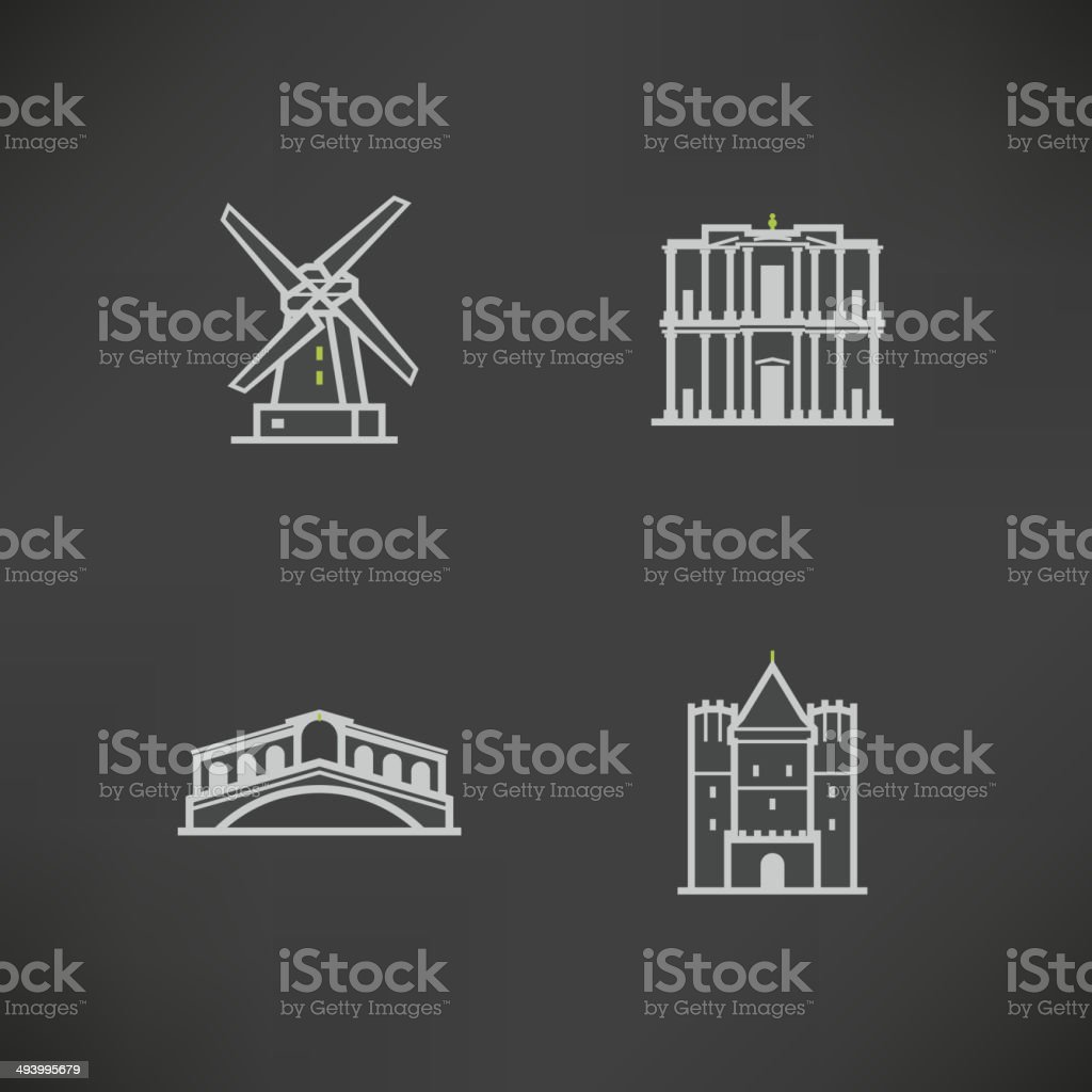World Landmarks vector art illustration