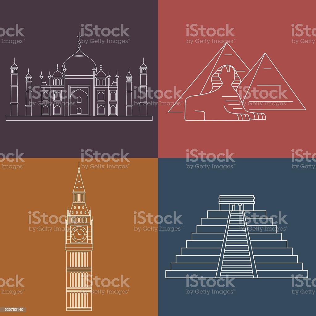 World Landmarks. Vector line icons set. vector art illustration