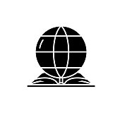 World law black icon, vector sign on isolated background. World law concept symbol, illustration