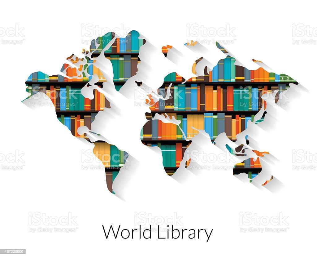 World Library vector art illustration
