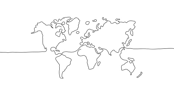 abstract hand drawn world map line art