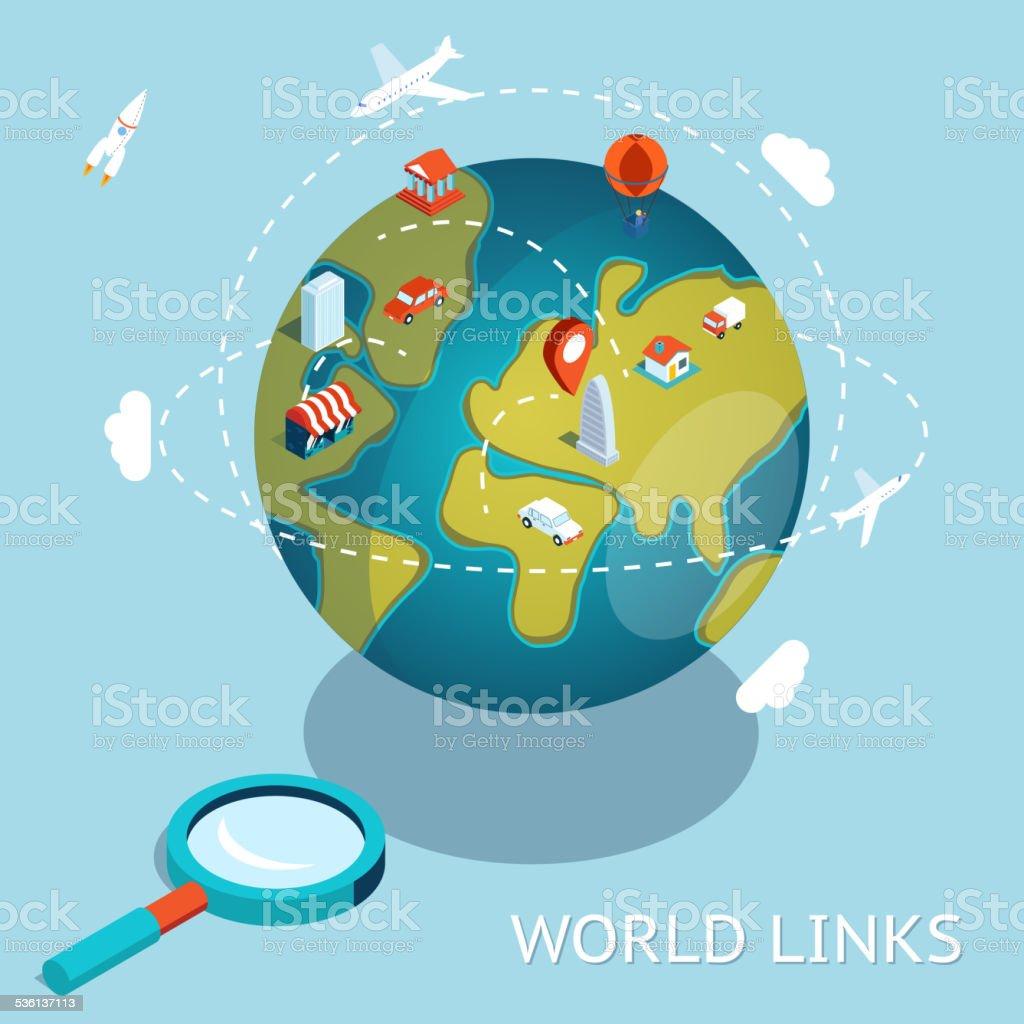 World Links. Global communication via aircraft and cars vector art illustration