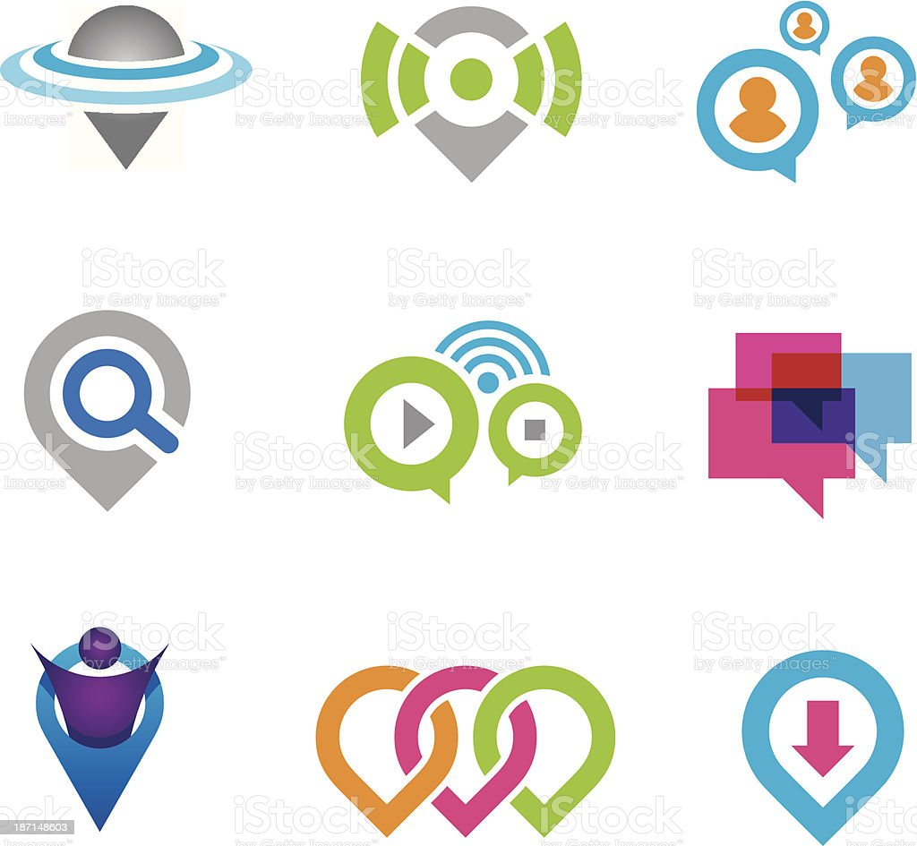 World location virtual social community network and real geographic positioning royalty-free stock vector art