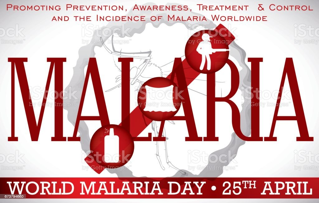 World Malaria Day Design Promoting Prevention Methods for this Disease векторная иллюстрация
