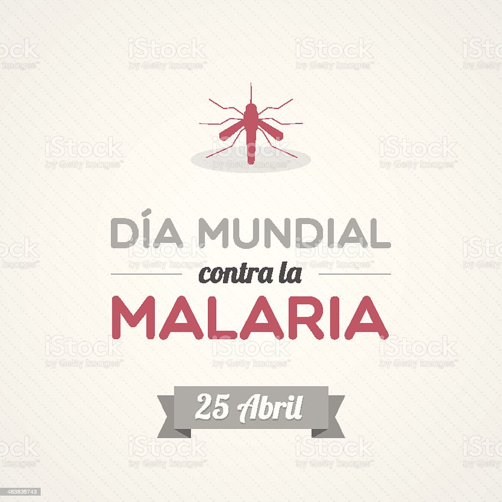 World Malaria Day in Spanish vector art illustration