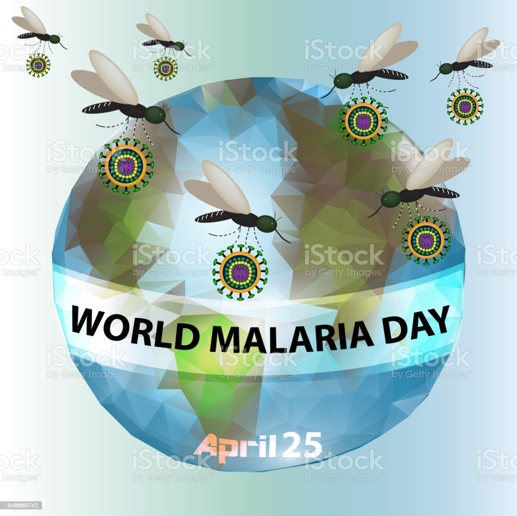 World Malaria Day. Mosquitoes, planet earth. Infographics. Vector illustration on isolated background. vector art illustration