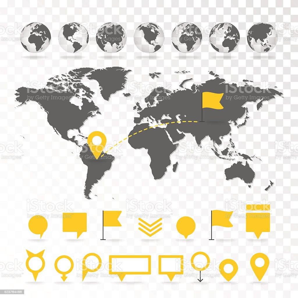 Mapa del mundo 3D con Conjunto de infografías elementos. - ilustración de arte vectorial