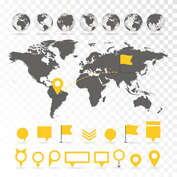 world map 3d with set of infographics elements. - acute angle stock illustrations