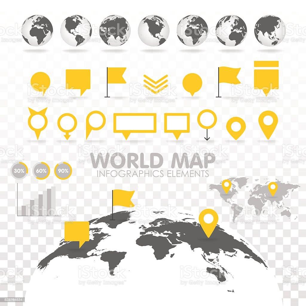 Monde carte 3D avec groupe de infographie éléments. - Illustration vectorielle