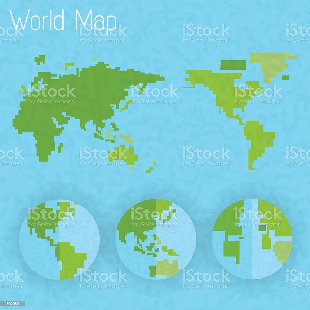 World map 8 bit air and compass of vector vector art illustration