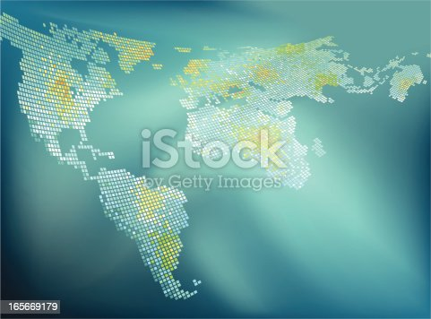 World map abstract graphic come with layer, fully editable. ZIP contain Hires jpg, AI 10 & AI CS2. Base map trace from file world_pol02.jpg from the public domain. http://www.lib.utexas.edu/maps/world_maps/world_pol02.jpg, Vector file drawn using Adobe Illustrator CS3, 2 layer. File created 03/08/2009.