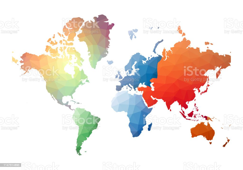 Carte Du Monde Reel.Carte Du Monde Style Low Poly Reel Vecteurs Libres De Droits